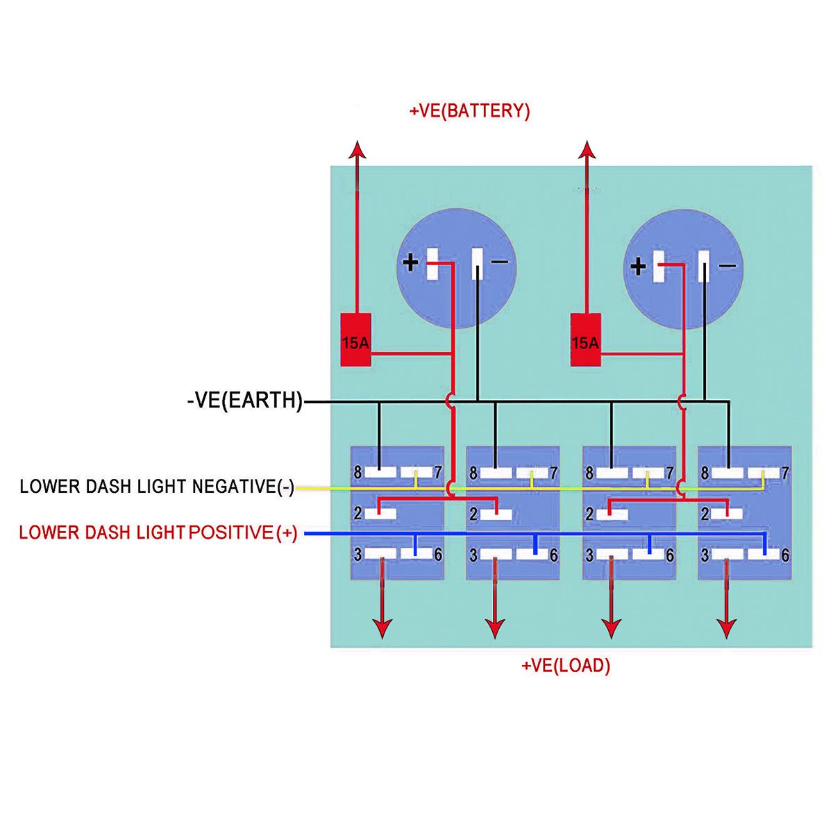 TEQStone Marine Boat Rocker Switch Panel 4 Gang With Double_Switch  Panels_TEQStoneTEQStone